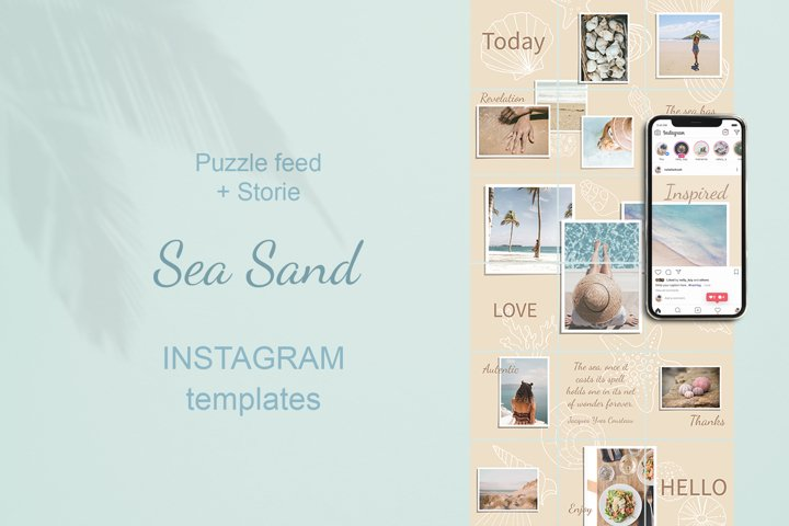 Puzzle Instagram Template. Sea Sand