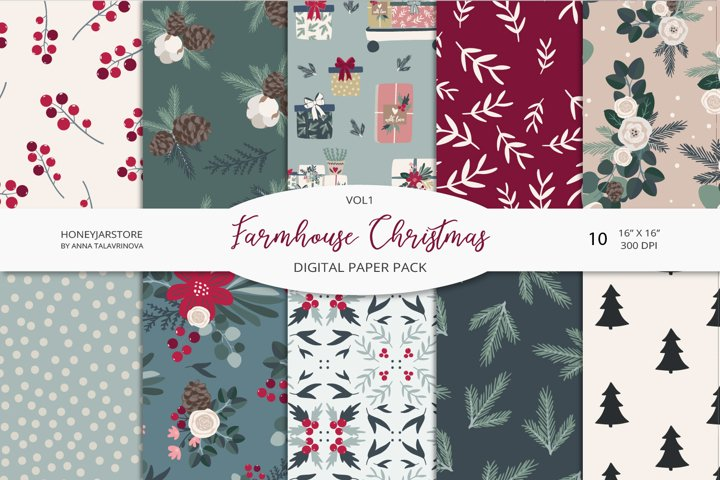 Farmhouse Christmas digital paper pack VOL1