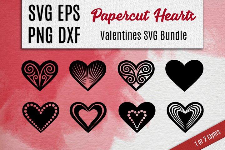 Papercut Hearts  Valentines SVG Bundle
