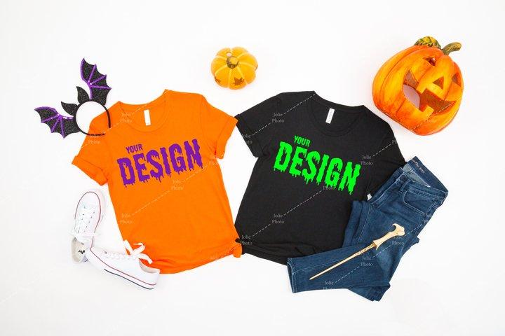 Bella Canvas 3001 Orange Black T-shirt Mockup for Halloween