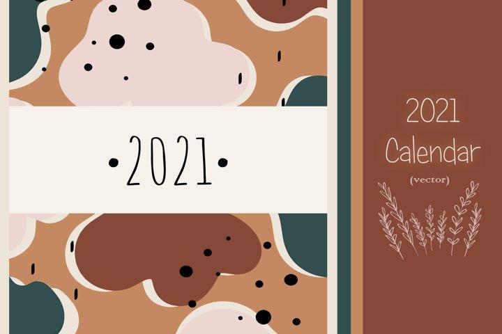 2021 // Trendy vector calendar