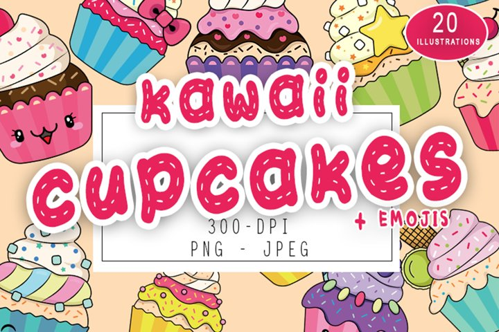Cute Kawaii Cupcakes Set Kawaii Dessert Baking Emojis