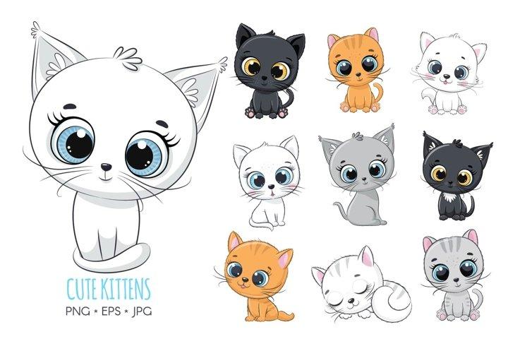 Set of cute kittens, PNG, JPG, EPS, 300 DPI