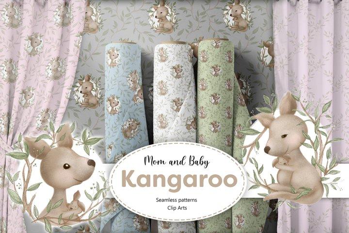 Kangaroo Seamless Patterns & Clip Art collection