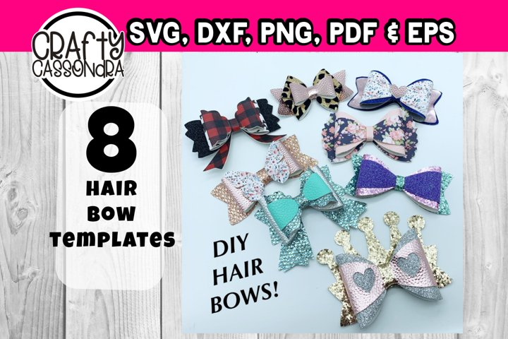 Hair bow svg - template bundle #4 - faux leather diy bow