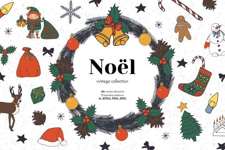 Noel Christmas Vintage Line Art