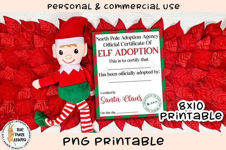 North Pole Elf Adoption Certificate Vertical Printable