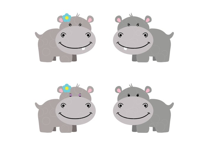 Hippo svg for kids, cute happy hippo girl and boy cut file