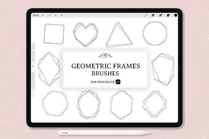 Procreate Stamp Brushes - set of 10 Geometric Frames Brushes