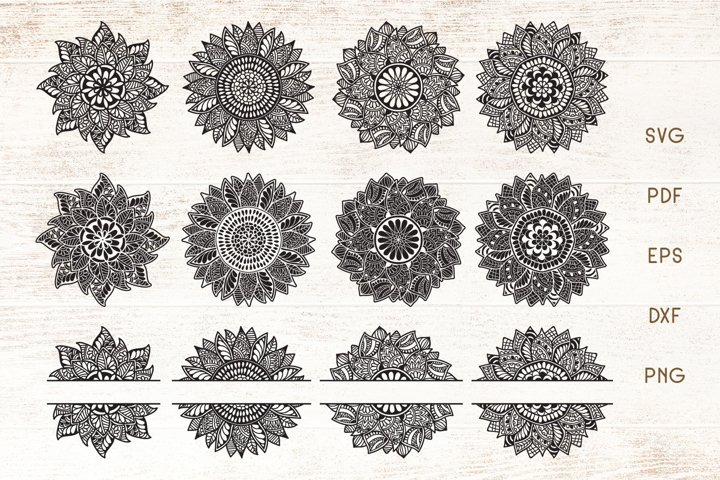 Sunflower Mandala SVG - Sunflower Zentangle Split Monogram