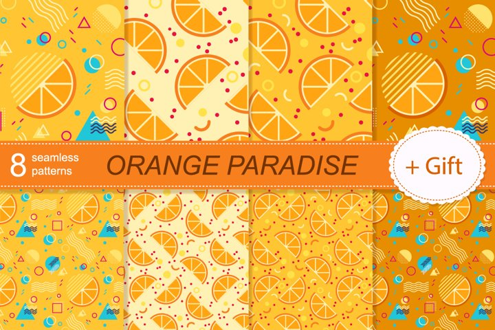 Patterns seamless Orange slices and memphis style elements