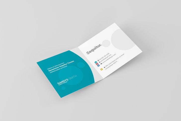 Square Folded Business Card Mock-Ups