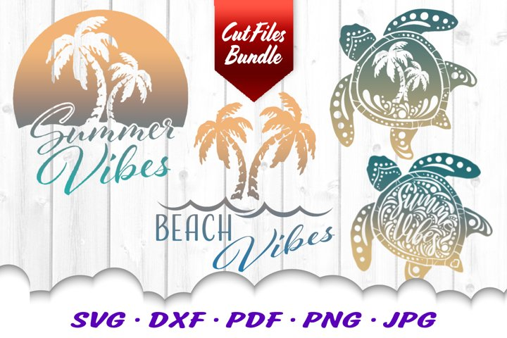 Palm Beach Summer Vibes Turtle SVG DXF Cut Files Bundle
