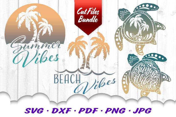 Palm Beach Summer Vibes Turtle SVG DXF Cut Files Bundle