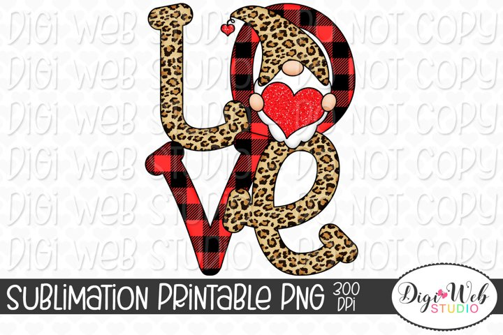 Love Gnome Sublimation Design - Valentines Day