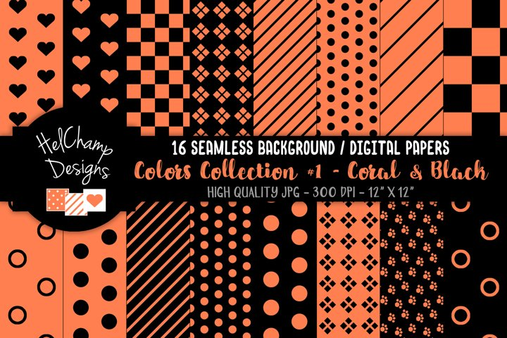 16 seamless Digital Papers - Coral and Black - HC097