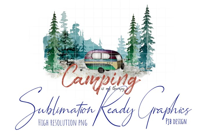 Camping Therapy Watercolour Illustration Sublimation