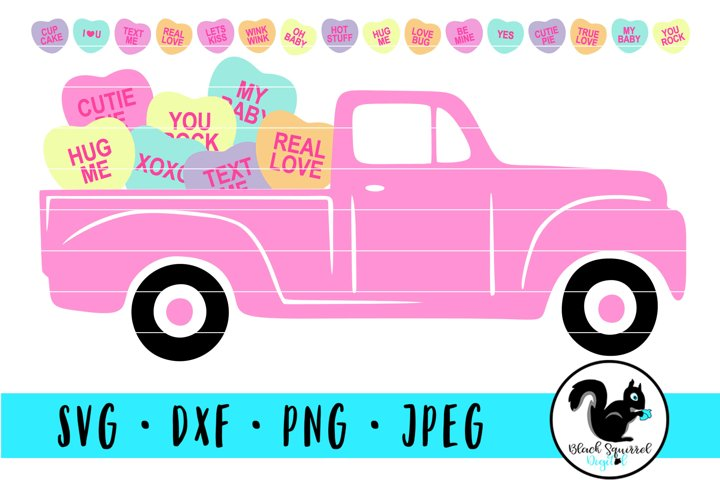 Pink V-Day Truck and Individual Conversation Hearts Sayings