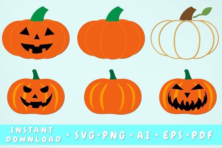 Pumpkin SVG Bundle - 6 Designs, Fall Clipart