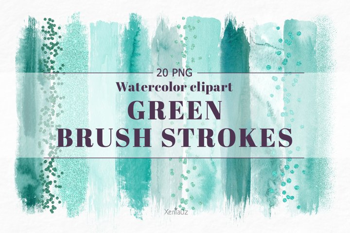 Emerald brush strokes clipart, green watercolor PNG elements