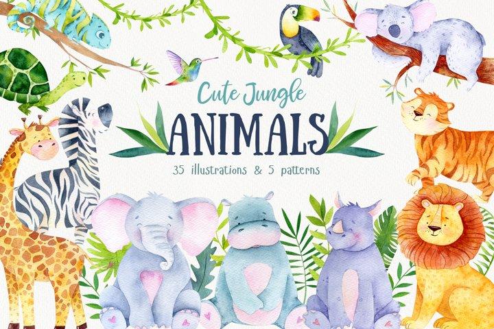 Watercolor Jungle Animals