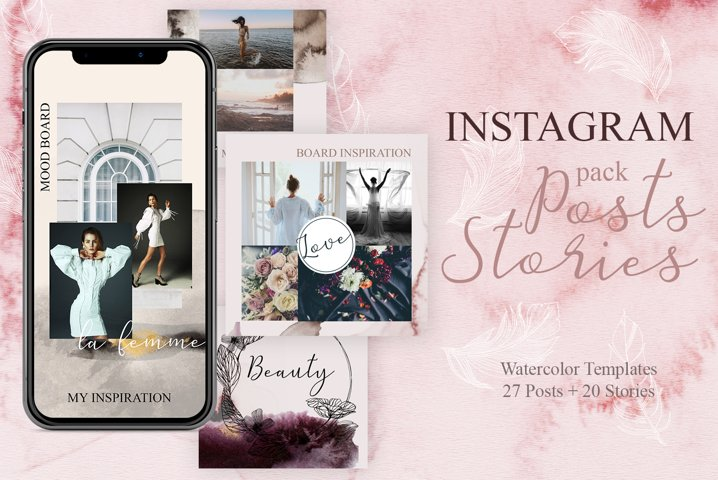Instagram Posts and Animated Stories - Watercolor templates