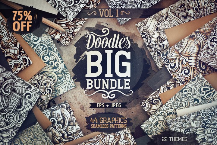 -75 SALE/ Big Doodle Graphics Patterns Bundle #1