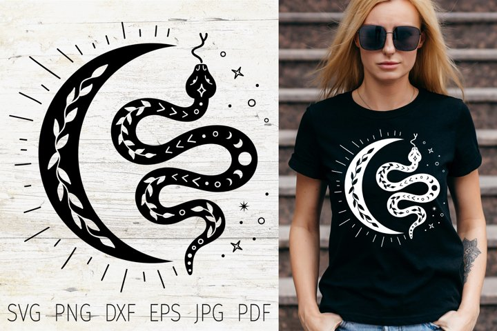 Boho svg snake and moon. Wich, magic, mystical svg tshirt.