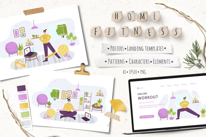 Home Fitness - vector set