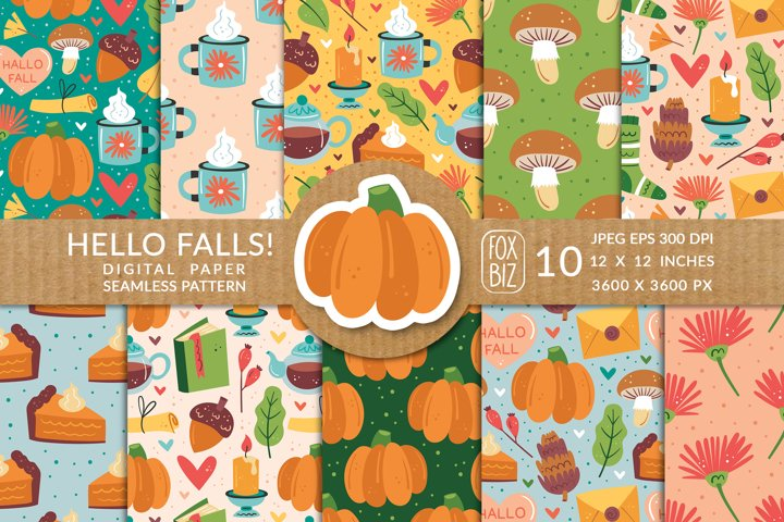 Hello falls. Digital paper prints, seamless pattern.