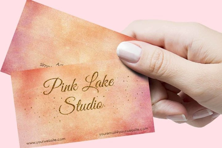 Blush, Apricot and Gold Glitter Business Card Template example