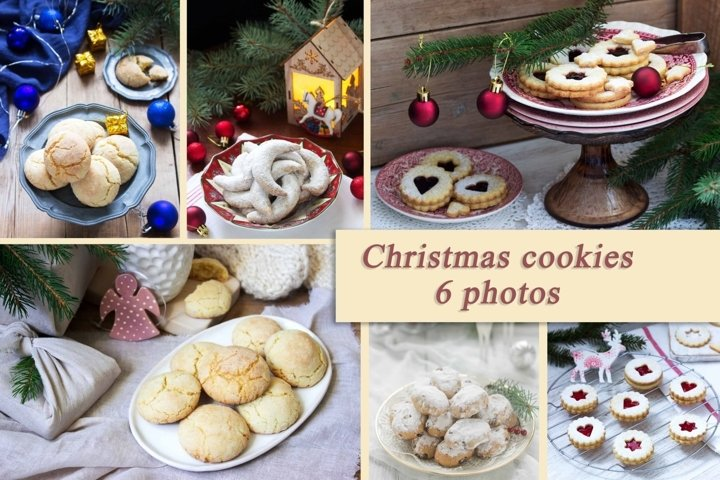 A set of photographs of Christmas cookies.