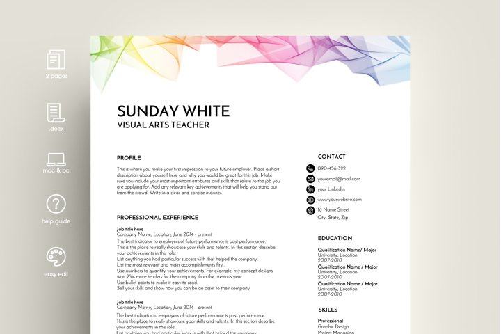 resume template, CV template, CV design, rainbow