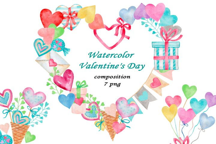 Valentines Day. watercolor clipart collection.