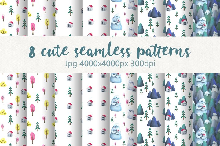 Minimalistic seamless patterns with watercolor illustration.