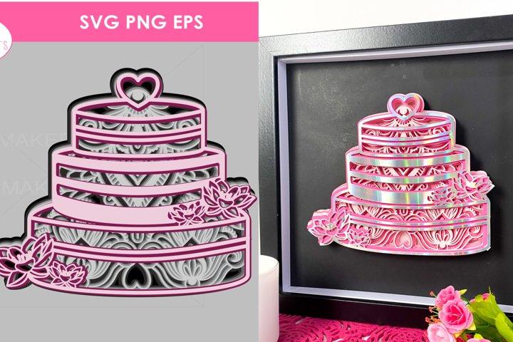 Wedding cake 3D Multilayered Mandala SVG Cut Files