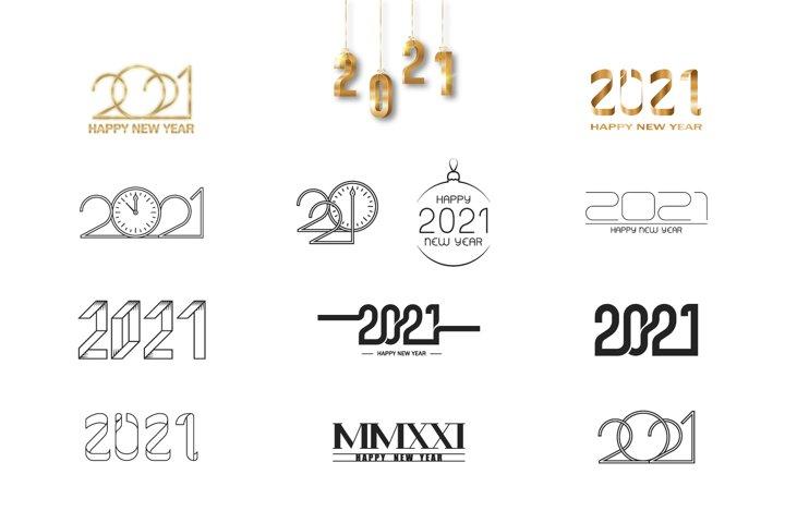 Set 2021 happy new year logos
