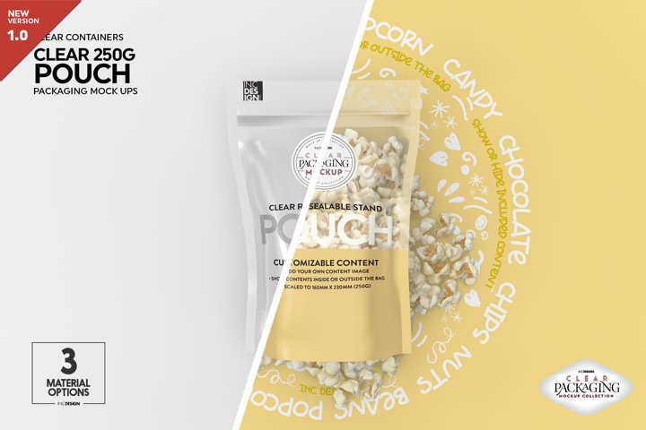 Clear 250g Pouch with Foil or Paper Options Packaging Mockup