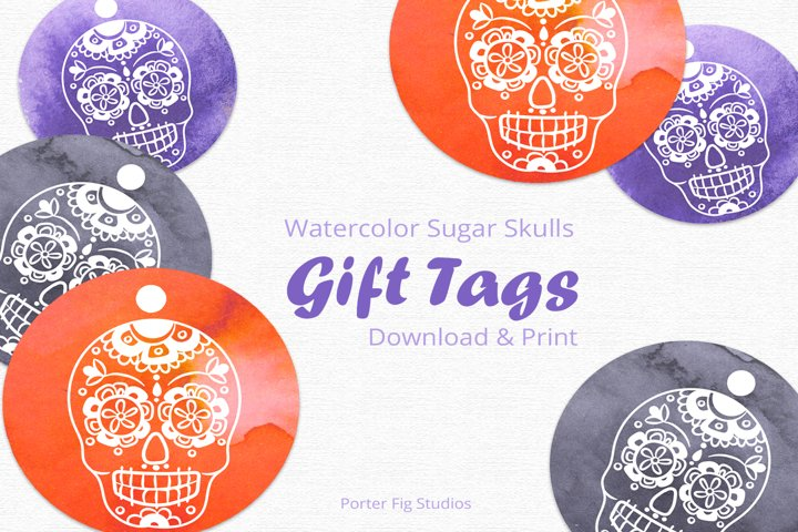 Printable Halloween Gift Tags Sugar Skull Day of the Dead