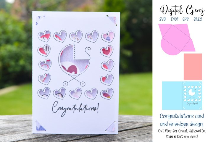 New Baby / Baby shower card and envelope design SVG
