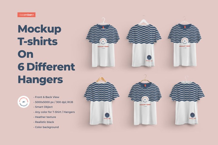 Front and Back T-shirts Mockups With 6 Different Hangers