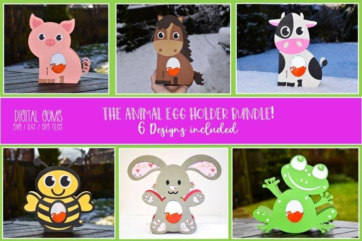 Animal Easter egg holder bundle SVG / DXF / EPS files.