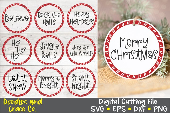 Candy Cane Christmas Round Ornaments SVG - EPS - DXF - PNG