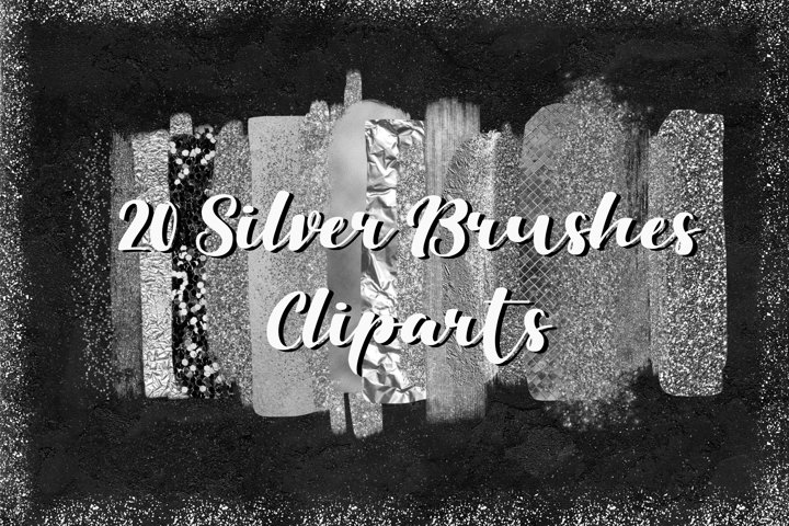 Silver Brush Strokes Cliparts