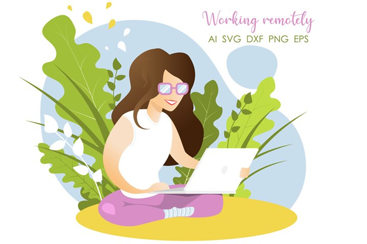 Happy flat style girl working remotely on computer in nature