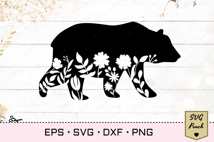 Floral Bear SVG grizzly