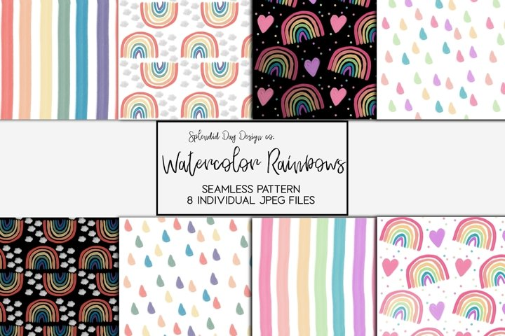 Watercolor rainbow seamless patterns