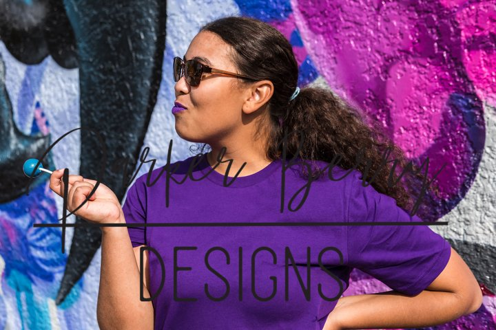 Bella Canva 3001 purple Tshirt Model