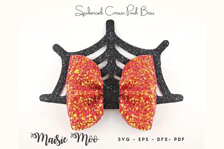 Spiderweb Crown Pinch Bow Template SVG, Halloween Bow SVG