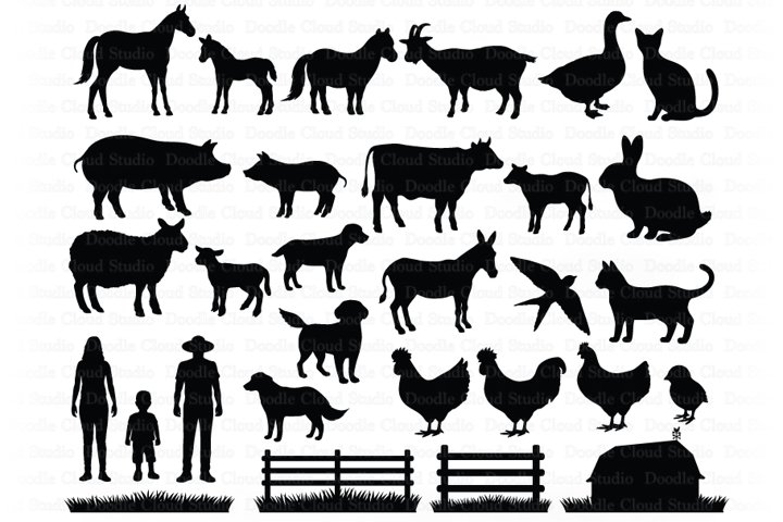 Farm Animals SVG Cut Files. Hen, Rooster, Cow, Pig, Horse.